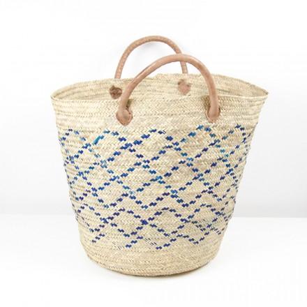 Mkeka Palmblatt Korbtasche, Shopper, Strandtasche blau