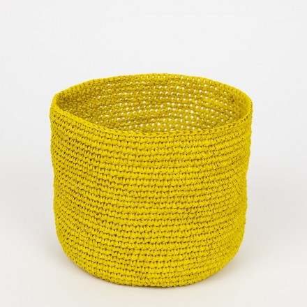 RAFFIA Korb S, gelb