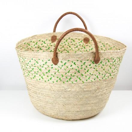 Mkeka Palmblatt Korbtasche, Shopper, Strandtasche grün