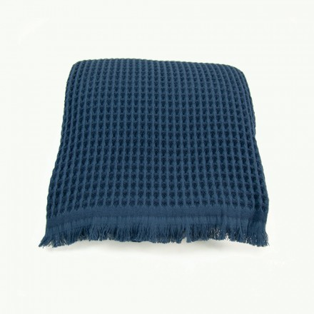 Waffelpique-Decke, Plaid Kare stahlblau