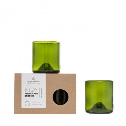 Upcycling-Glas grün 2er-Set in 2 Größen
