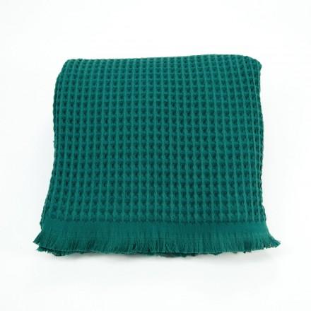 Waffelpique-Decke, Plaid Kare ozeangrün