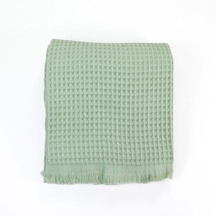 Waffelpique-Decke, Plaid Kare pistazie