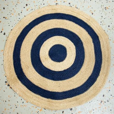 BIG STRIPE Jute Teppich blau